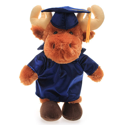 Soft Plush Moose in Graduation Cap & Gown Stuffed Animal