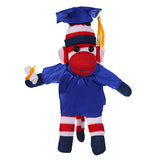 Patriotic Sock Monkey Plush with Graduation Cap and Gown