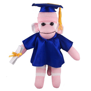 Pink Sock Monkey (Plush) in Graduation Cap & Gown