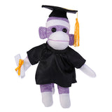 Purple Sock Monkey Plush with Graduation Cap and Gown