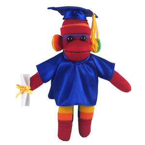 Rainbow Sock Monkey (Plush) in Graduation Cap & Gown