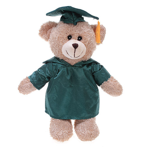 Soft Plush Tan Teddy Bear with Graduation Cap and Gown green