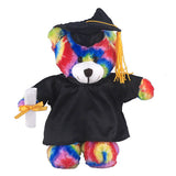 Soft Plush Tie Dye Teddy Bear in Graduation Cap & Gown