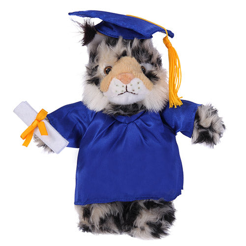 Soft Plush Wild Cat (Lynx) in Graduation Cap & Gown