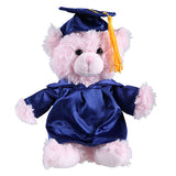 Soft Plush Pink Sitting Teddy Bear in Graduation Cap & Gown Stuffed Animal