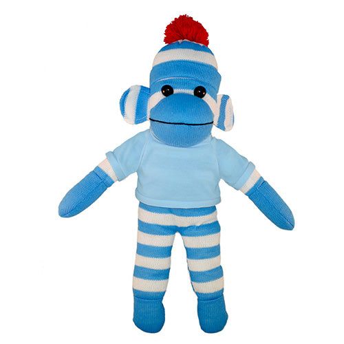 Soft Plush Blue Sock Monkey with Tee