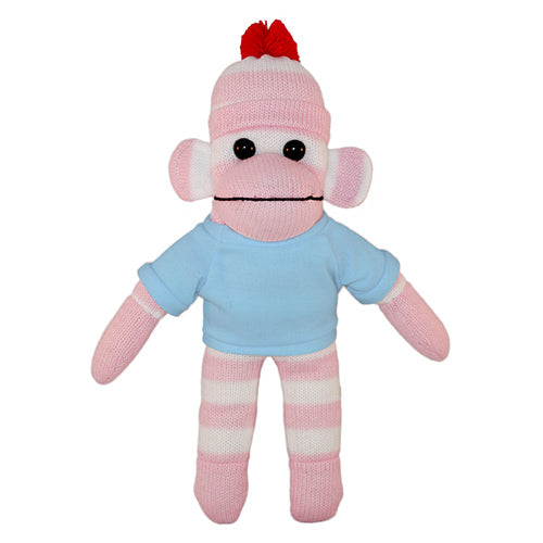 Soft Plush Pink Sock Monkey with Tee