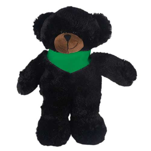 Soft Plush Stuffed Black Teddy Bear with Bandana