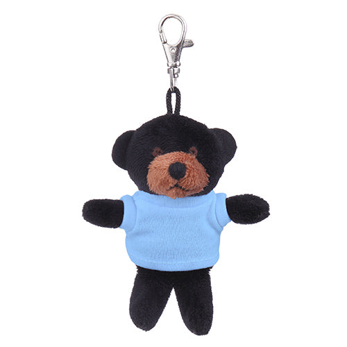 Soft Plush Black Teddy Bear Keychain with Tee