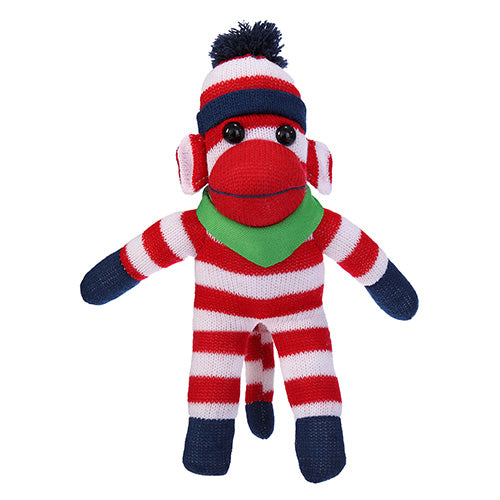 Patriotic Sock Monkey Plush with Bandana