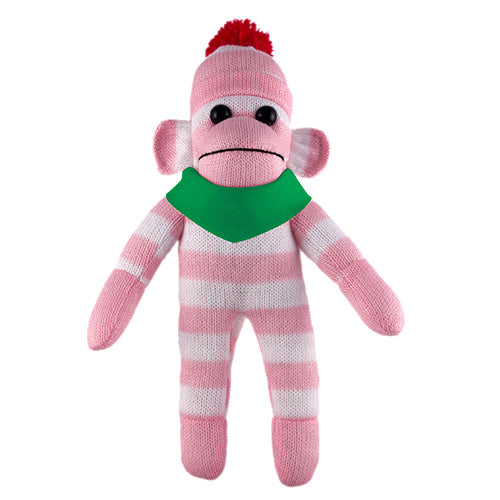 Pink Sock Monkey (Plush) with Bandana