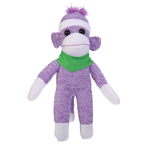 Purple Sock Monkey Plush with Bandana