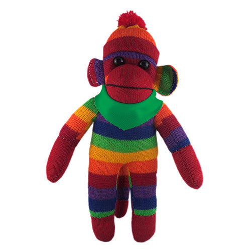Rainbow Sock Monkey (Plush) with Bandana