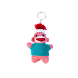 Orange Sock Monkey Keychain 4""