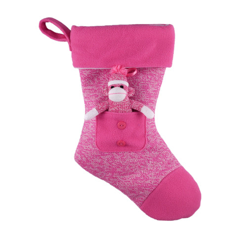 Sock Monkey Stuffed Animal Pink