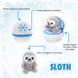 Holiday Zippy Zip Up Snowball Animals-Sloth