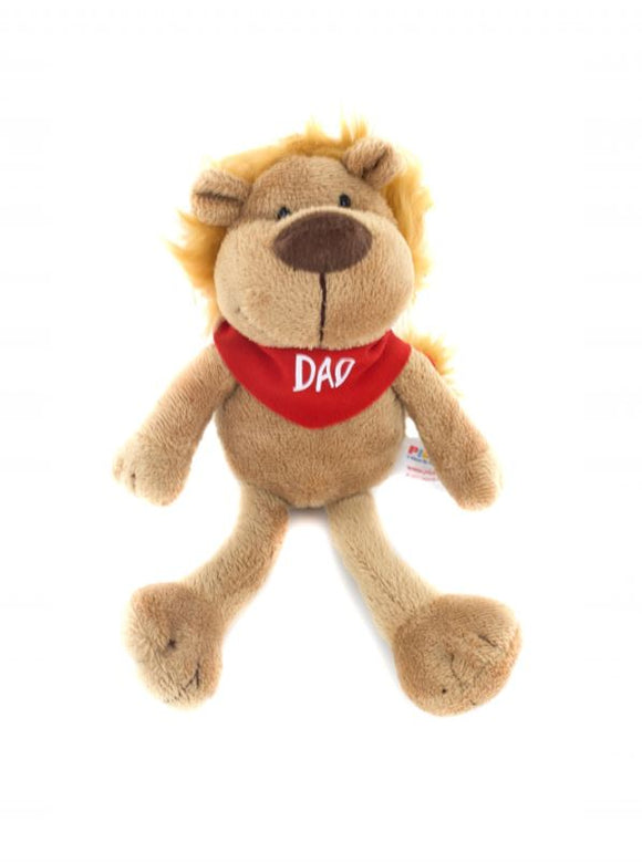 father's day gifts - goofy jungle animals lion 8″with dad bandana