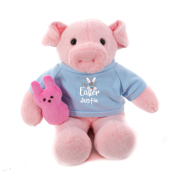Pig with blue 1st Easter Shirt 12