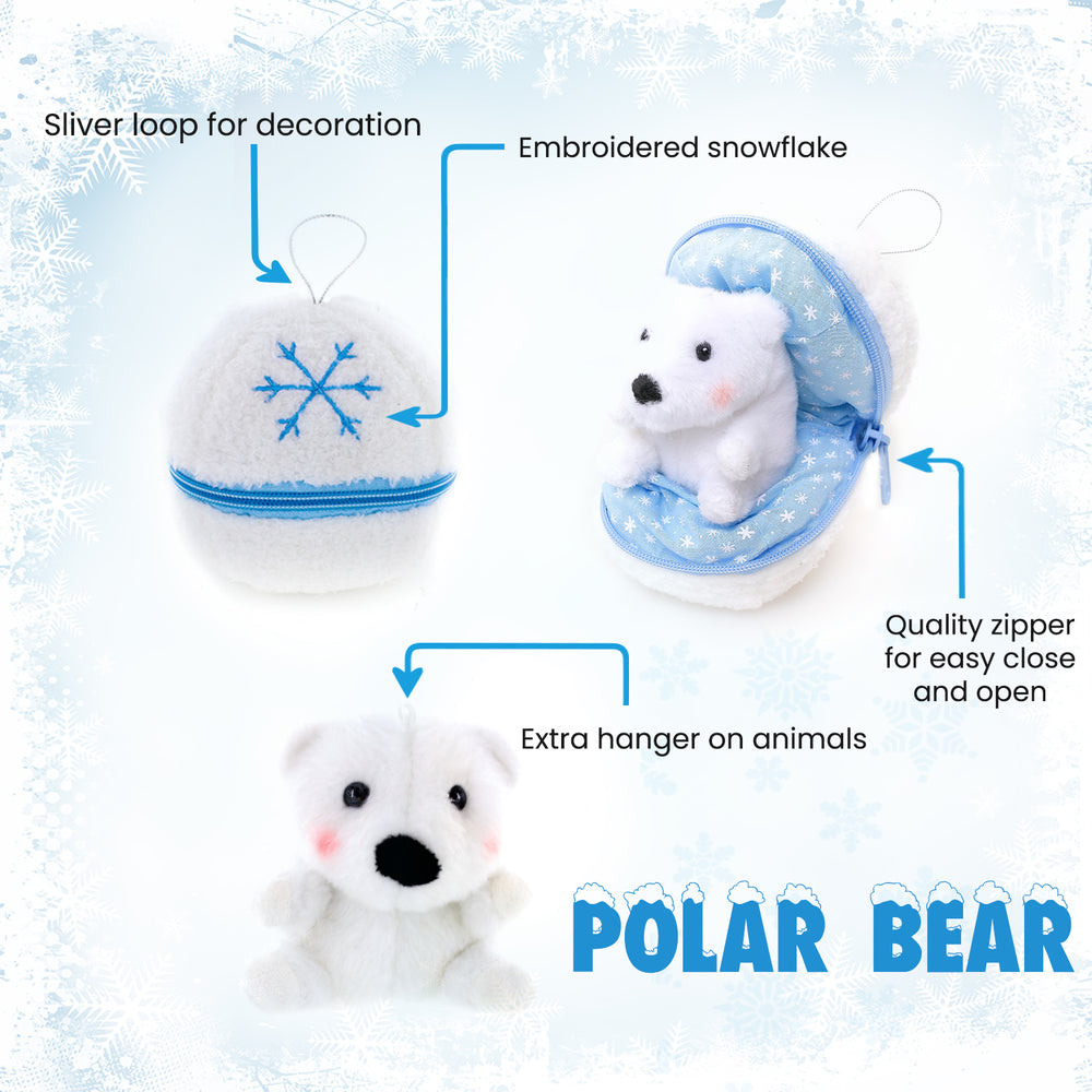 Holiday Zippy Zip Up Snowball Animals-Polar Bear