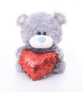 mother's day stuffed animals - grey qbeba bear with red heart