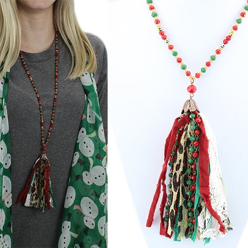 Leopard Tassel Necklace 32""