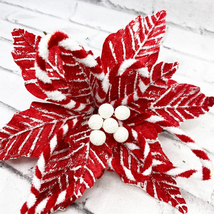 Peppermint Poinsettia Pick