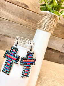 Serape Cross Earrings