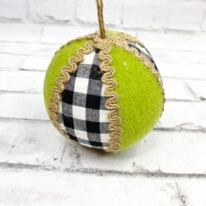 Gingham Felt Green Jute Ball