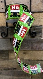 2 1/2 Inch X 25 Yards Ribbon -Green with Santa Boots and Ho Ho