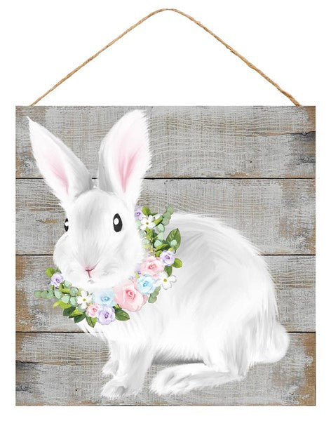 "10""Sq Bunny/Floral Sign"