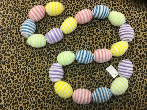 Striped Fabric Egg Garland 4'L