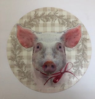 12 inch Round Metal Pig Sign