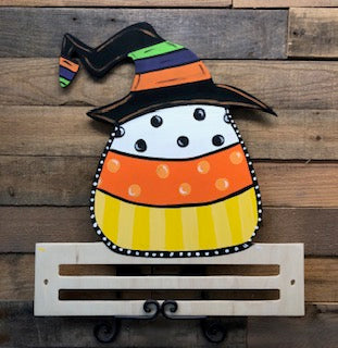 Painted Candy Corn/Pumpkin Witches Hat with Rail