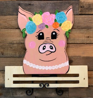 Painted Girl Pig with Rail