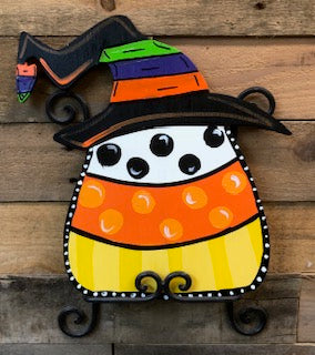 Wreath Size Candy Corn Witch Hat