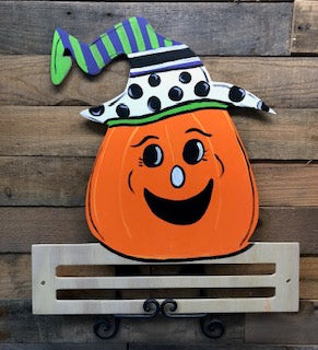 Painted Happy Pumpkin with Rail