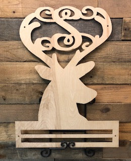 Deer Head and Monogram Initial with Rail