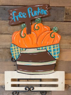 Painted Pumpkin Basket with Rail