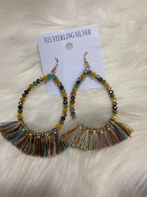 Multi Color Beaded Hoop