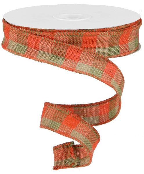 "1.5""X25yd Multi Check Faux Burlap RIBBON"