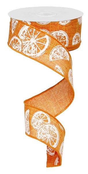 "1.5""X10yd Citrus On Royal Orange/White"