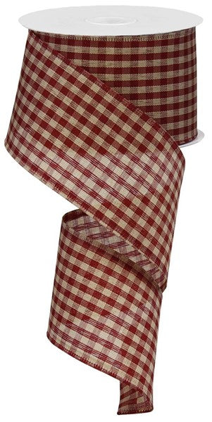 2.5 x 10 yd Red/Tan  Gingham Check