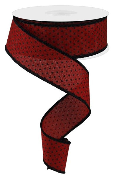 "1.5""X10yd Red with Black Swiss Dot"
