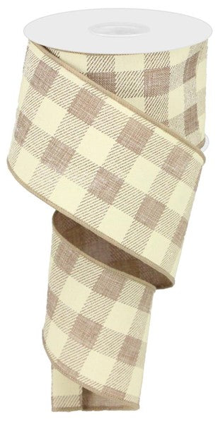 "Tan/Cream  2.5""  Buffalo Plaid Ribbon"