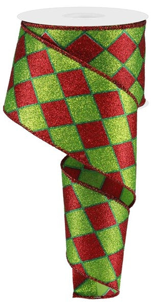 Red/Green Harlequin Glittered Ribbon