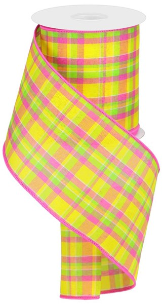 "4""X10yd Woven Check Yellow/Hot Pink/Lime"