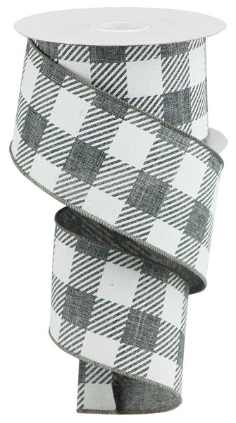 "Gray/White  2.5""  Buffalo Plaid Ribbon"