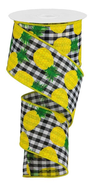 "2.5""X10yd Pineapples On Woven Check"