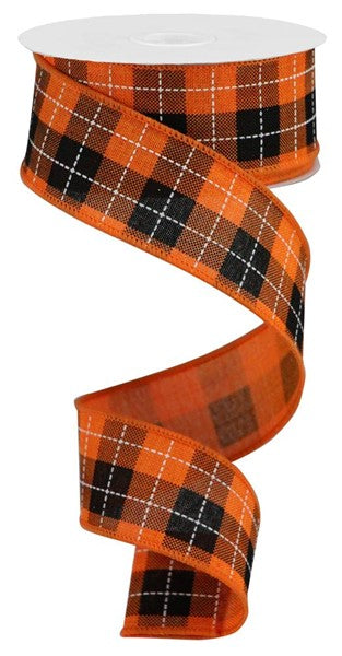 Printed Woven Check On Royal - Black/Orange 1.5""