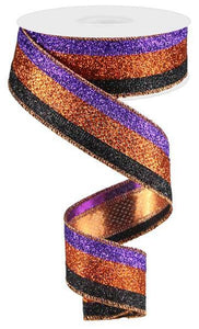 Glitter Orange/Black/Purple 1.5""
